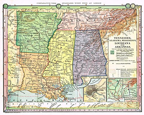 "Barnes's Geography - ""TENNESSEE, ALABAMA, MISSISSIPPI, LOUISIANA & ARKANSAS"" Map by Monteith -1875"