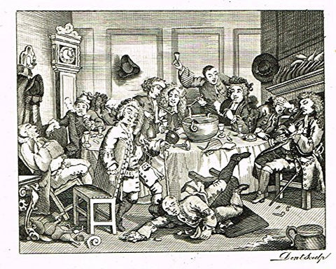 "Hogarth's Illustrated - ""A MODERN MIDNIGHT CONSERVATION"" -  Engraving - 1793"
