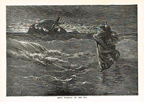 "Buel's Beautiful Story - ""JESUS WALKING ON THE SEA"" - Woodcut - 1887"