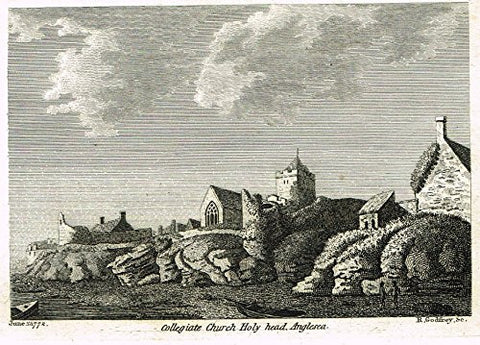 "British Architectural Ruins - ""COLLEGIATE CHURCH HOLY HEAD, ANGLESEA"" - Copper Engraving - 1772"