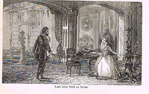 "Abott's Queen Elizabeth - ""LADY JANE GREY AT STUDY"" - Wood Engraving - 1869 - Sandtique-Rare-Prints and Maps"