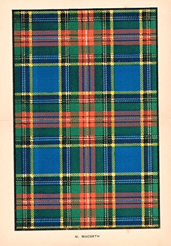 "Johnston's Scottish Tartans - ""MACBETH"" - Chromolithograph - c1899"