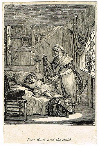 Miniature Print - POOR RUTH AND THE CHILD - Engraving - c1850