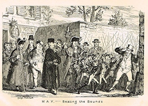 "Cruikshank's Almanack - ""MAY - BEATING THE BOUNDS"" - Engraving - 1837"