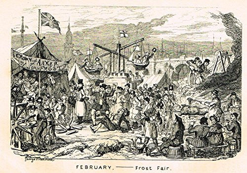 "Cruikshank's Almanack - ""FEBRUARY - FROST AIR"" - Engraving - 1838"