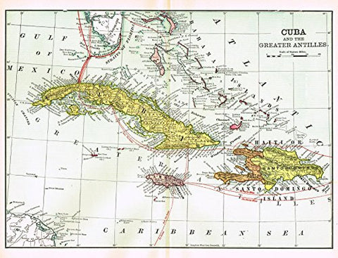 "History of Our Country - Map - ""CUBA AND THE GREATER ANTILLES"" - Chromolithograph - 1899"