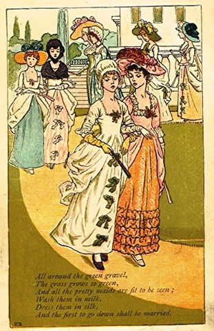 Greenaway's Mother Goose - ALL AROUND THE GREEN GRAVEL - Chromolithograph - 1898