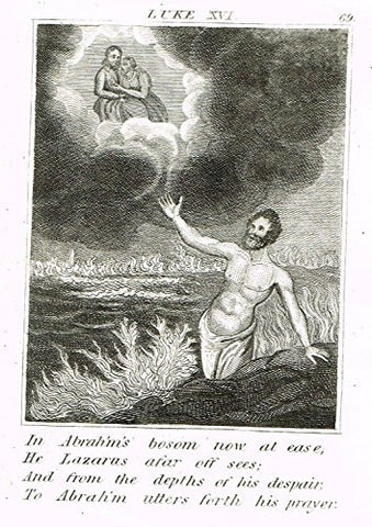 "Miller's Scripture History - ""IN ABRAHAM'S BOSOM NOW AT EASE"" - Copper Engraving - 1839"