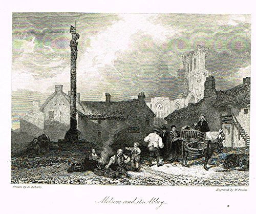 "Waverley's Keepsake - ""MELROSE AND ITS ABBEY"" - Steel Engraving - 1853"