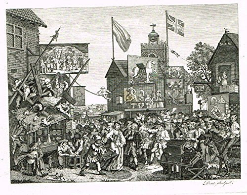 "Hogarth's Illustrated - ""SOUTHWARK FAIR"" - Antique Copper Engraving - 1793"