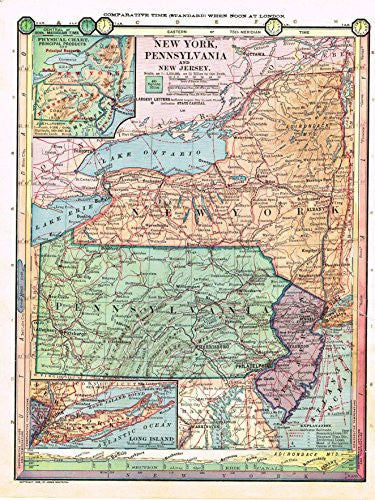 "Barnes's Geography - ""NEW YORK, PENNSYLVANIA & NEW JERSEY"" Map by Monteith -1875"