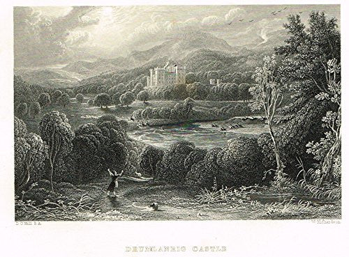 "Scotish Robert Burns Topographicals - ""DRUMLANRIG CASTLE"" - Steel Engraving - 1858"