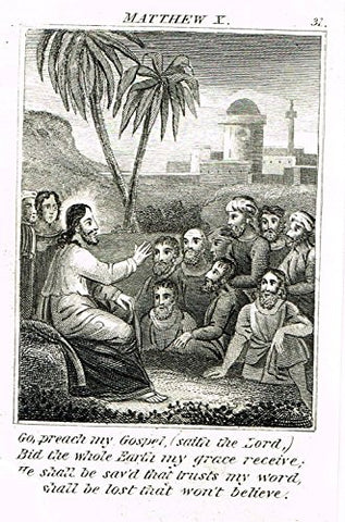 "Miller's Scripture History - ""JESUS ASKES APOSTLES TO PREACH HIS GOSPEL"" - Copper Engraving - 1839"
