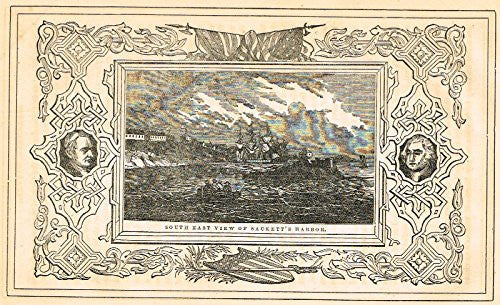 "Frost's 'The American Generals' - ""SOUTH EAST VIEW OF SACKETT'S HARBOR "" - Woodcut - 1848"