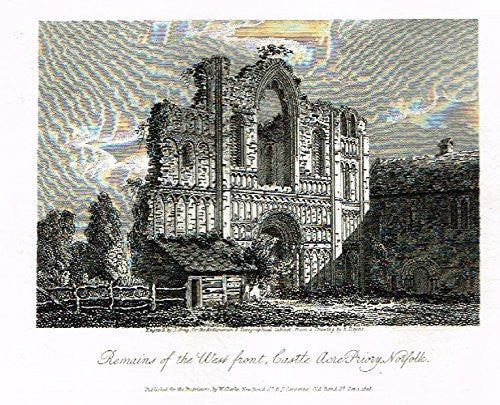 "Miniature Topographical Views - ""CASTLE ACRE PRIORY, NORFOLK"" - Copper Engraving - 1808"