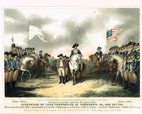 Colored Lithograph - SURRENDER OF LORD CORNWALLIS AT YORKTOWN - c1895
