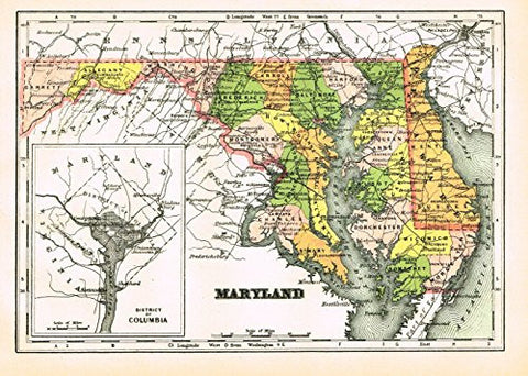 "Johnson's Universal Cyclopedia - ""MARYLAND"" - Hand-Colored Lithograph - 1896"