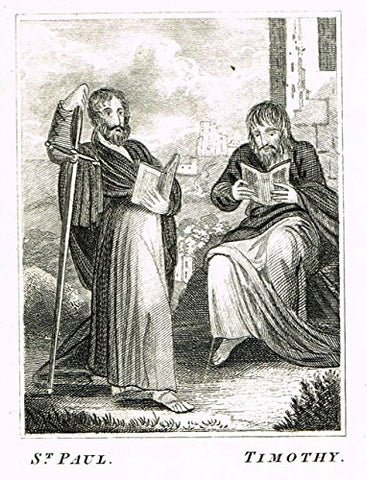 "Miller's Scripture History - ""ST. PAUL & TIMOTHY"" - Small Religious Copper Engraving - 1839"