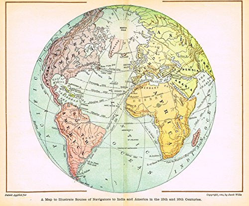 "Scudder's - ""A MAP TO ILLUSTRATE ROUTES OF NAVIGATORS TO INDIA AND AMERICA"" - Chromo - 1881"