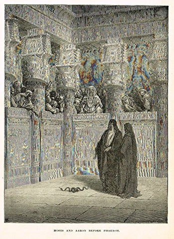 "Buel's Beautiful Story - ""MOSES AND AARON BEFORE PHARAOH"" - Woodcut - 1887"