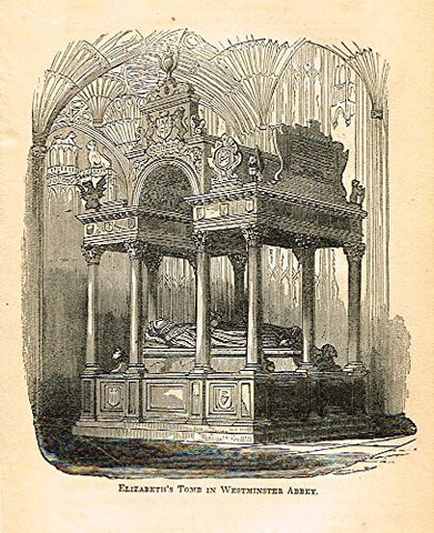 "Abott's Queen Elizabeth - ""ELIZABETH'S TOMB IN WESTMINSTER ABBEY"" - Wood Engraving - 1869 - Sandtique-Rare-Prints and Maps"