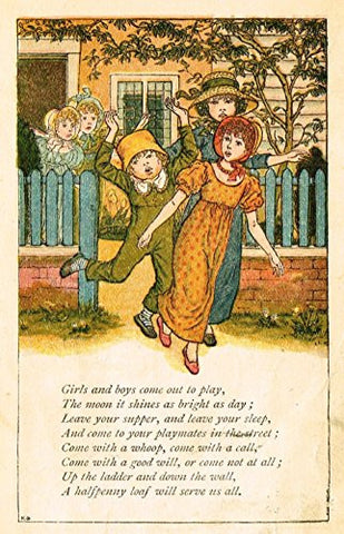 Greenaway's Mother Goose - GIRLS & BOYS COME OUT TO PLAY - Chromolithograph - 1898