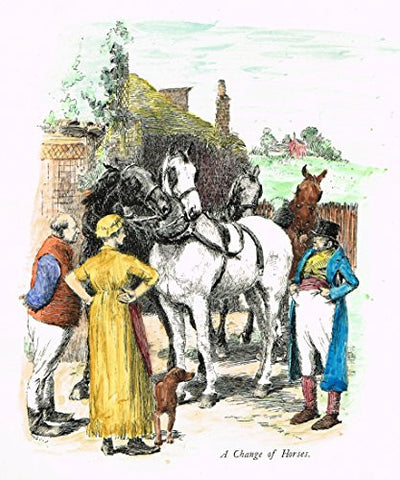 "Tristram's Coaching Ways - ""A CHANGE OF HORSES"" - Hand-Colored Lithograph - 1888"