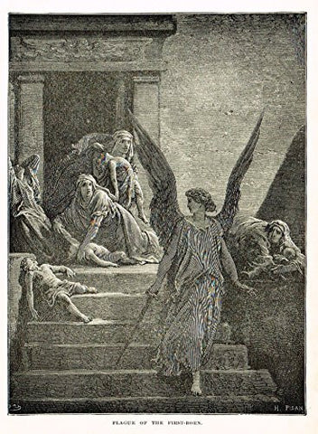 "Buel's Beautiful Story - ""PLAGUE OF THE FIRST BORN"" - Woodcut - 1887"