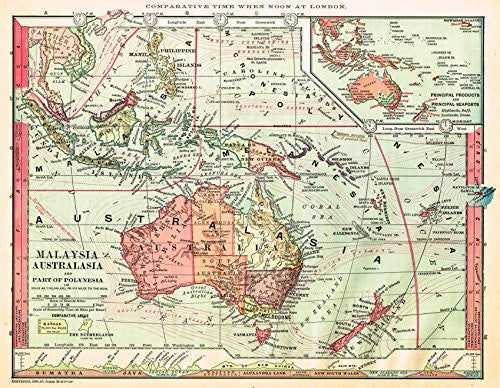 "Barnes's Geography - ""MALAYSIA & AUSTRALIA"" Map by Monteith -1875"