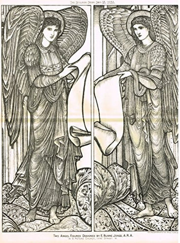 "Building News' - ""TWO ANGEL FIGURES by BURNE JONES"" - Large Lithograph - 1885"