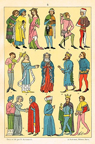 "Hottenroth's Le Costume - ""KINGS & QUEENS WITH SERVANTS"" - Chromolithograph - 1890"