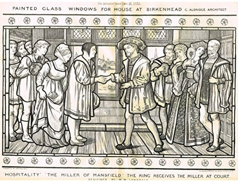 "Building News' - ""PAINTED GLASS WINDOWS FOR HOUSE AT BIRKENHEAD"" - Large Lithograph - 1885"