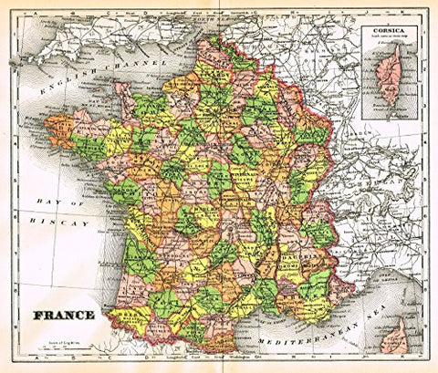 "Johnson's Universal Cyclopedia - ""FRANCE"" - Hand-Colored Lithograph - 1896"