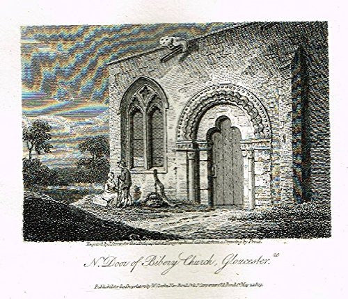 "Miniature Topographical Views - ""BIBERY CHURCH, GLOUCESTER"" - Copper Engraving - 1808"