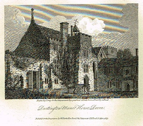 "Miniature Topographical Views - ""DARTINGTON MANOR HOUSE, DEVON"" - Copper Engraving - 1808"