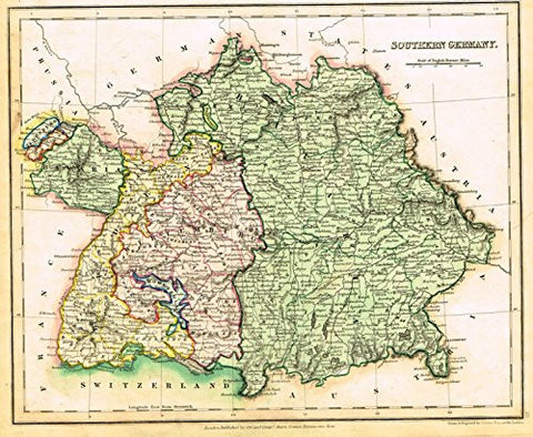 "Map by John Dower - ""SOUTHERN GERMANY"" - Hand-Colored Engraving - 1836"