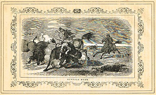 Frost's 'The American Generals' - BUFFALO HUNT - Woodcut - 1848