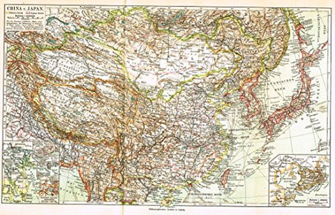 "Meyers' Lexicon Map - ""CHINA & JAPAN"" - Chromolithograph - 1913"