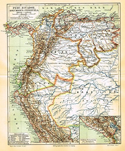 "Meyers' Lexicon Map - ""PERU, EQUADOR, COLUMBIA & VENESUELA"" - Chromolithograph - 1913"