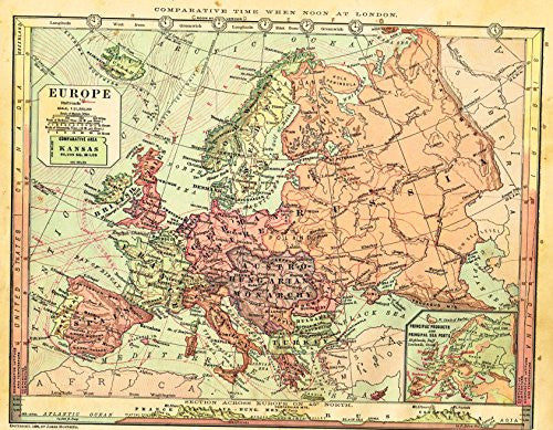 "Barnes's Geography - ""EUROPE"" Map by Monteith -1875"