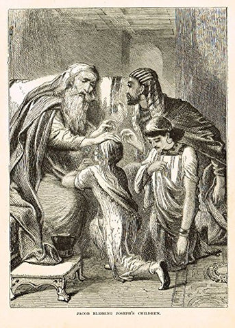 "Buel's Beautiful Story - ""JACOB BLESSING JOSEPH'S CHILDREN"" - Woodcut - 1887"