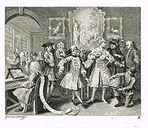 "Hogarth's - ""THE RAKE'S PROGRESS - PLATE 2"" - (Ilustrated by John Ireland) - Engraving - 1813"
