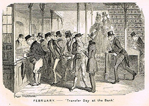 "Cruikshank's Almanack - ""FEBRUARY - TRANSFER DAY AT THE BANK"" - Engraving - 1836"