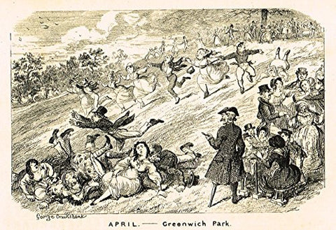 "Cruikshank's Almanack - ""APRIL - GREENWICH PARK"" - Engraving - 1836"