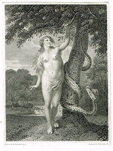 Miniature Print - EVE WITH SNAKE by Bartolozzi - Steel Engraving - c1850