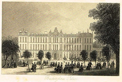 "Tallis's London - ""BUCKINGHAM PALACE"" - Steel Engraving - 1851"
