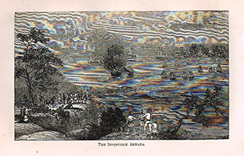 "Abott's Queen Elizabeth - ""THE INVINCIBLE ARMADA"" - Wood Engraving - 1869 - Sandtique-Rare-Prints and Maps"