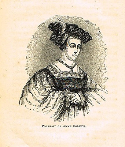"Abott's Queen Elizabeth - ""PORTRAIT OF ANNE BOLEYN"" - Wood Engraving - 1869 - Sandtique-Rare-Prints and Maps"