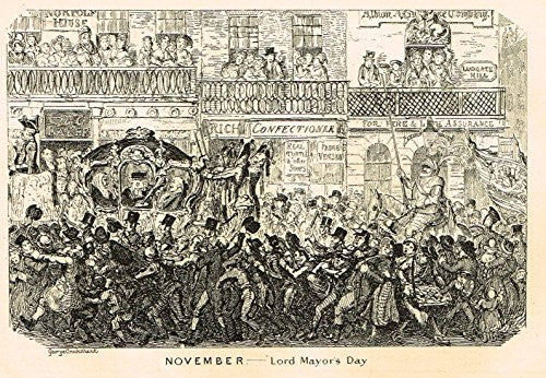 "Cruikshank's Almanack - ""NOVEMBER - LORD MAYOR'S DAY"" - Engraving - 1836"