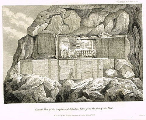 "Archaeologia's Antiquity - ""GENERAL VIEW OF THE SCULPTURES AT BEHISTAN"" - Engraving - 1852"
